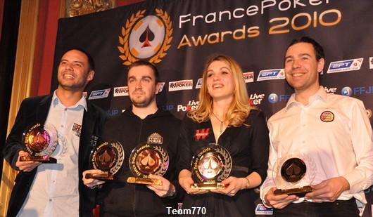 Julien Brécard, Antoine Saout, Almira Skripchenko et le représentant Orléans Poker Club